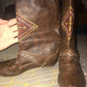 Brown boho boots